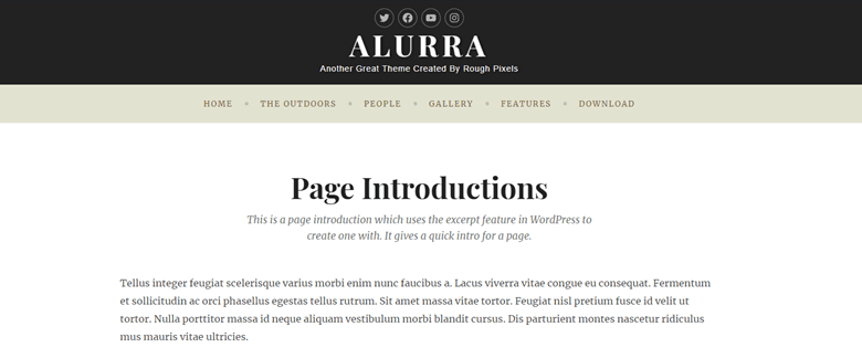 screenshot showing how page intros are displayed with Alurra