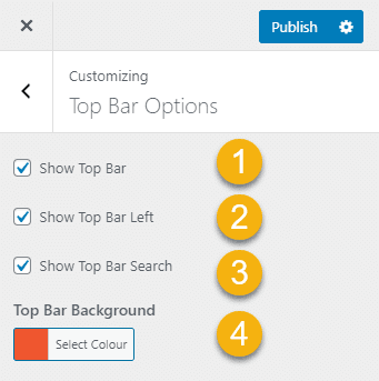 Ariele top bar area with social and search