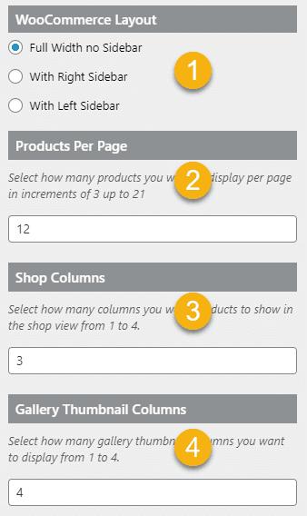Definite WooCommerce customizer settings