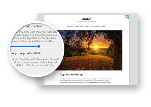 screenshot for adjusting the page width with Amble