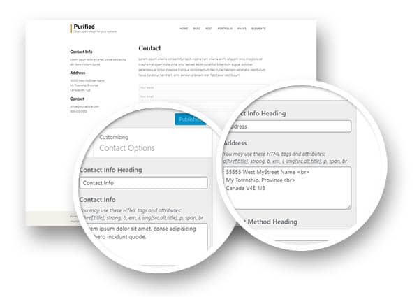 Purified contact page options