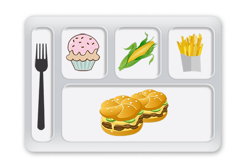 Cafeteria food tray representing a WordPress block area template