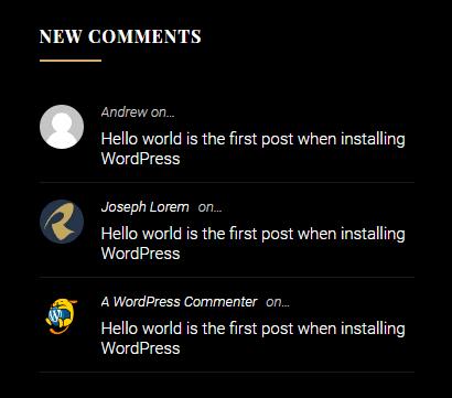 Empt comments widget in footer
