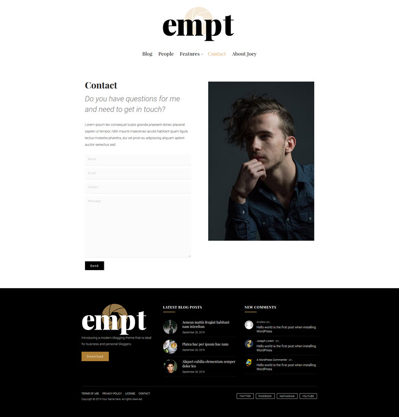 Empt contact page example