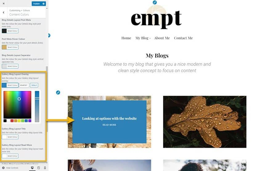 Empt gallery blog style changing colours
