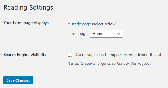 WordPress disable blog and set static front page