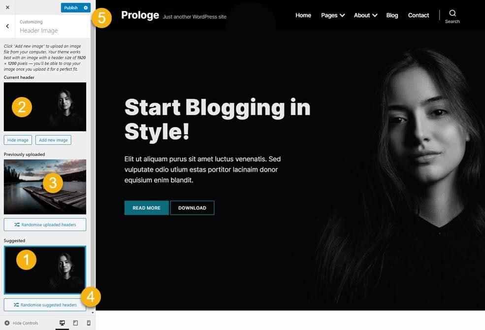screenshot demo Prologe front page header image
