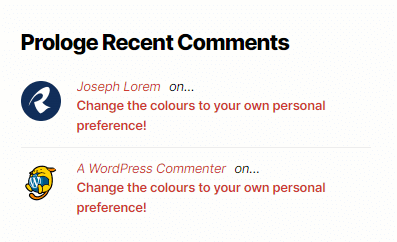 screenshot demo for the Prologe recent comments widget