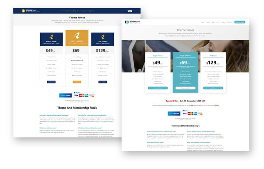 Price page redesign
