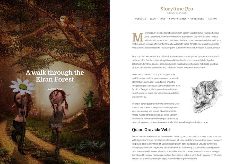 Storytime Pro book styled post layout
