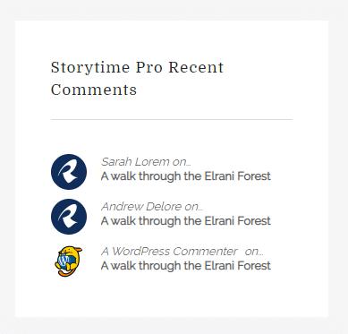 Storytime Pro recent comments widget
