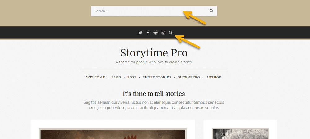 Storytime Pro top search bar