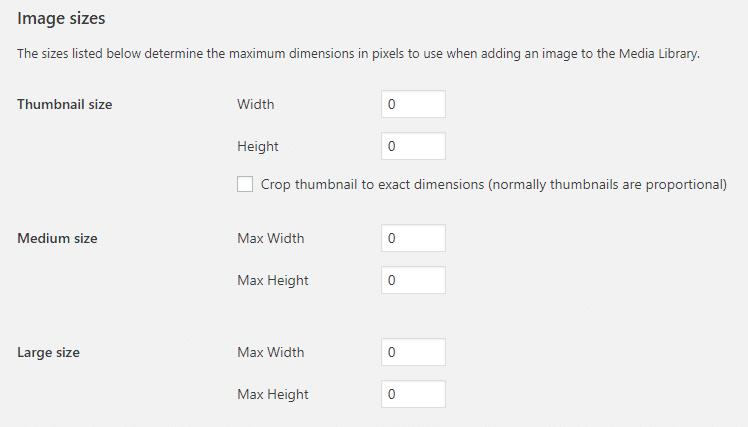 WordPress media settings set to 0