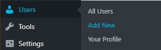 WordPress add new user link
