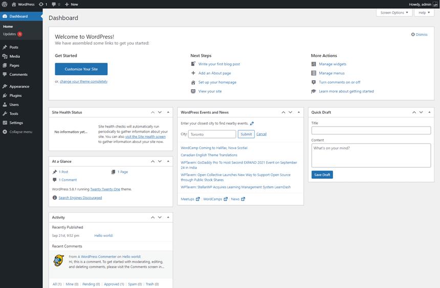 WP admin dashboard layout after installing WordPress