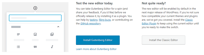 WordPress Gutenberg and Classic Editor