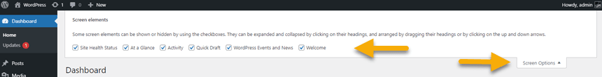 screenshot for the WordPress screen options tab